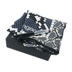 Набор: платок шелковый, ручка шариковая, черный/ белый фото