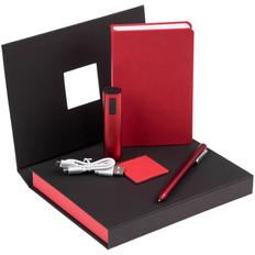 Набор Plus New: блокнот Freenote Wide, внешний аккумулятор Easy Metal 2200 мАч, ручка шариковая Slider Silver, красный фото