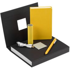 Набор Plus New: внешний аккумулятор Easy Shape 2000 мАч, блокнот Freenote Wide, USB-кабель, ручка шариковая Slider, желтый фото