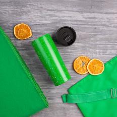 Набор подарочный B`Cozy: плед, термокружка, рюкзак, зелёный фото