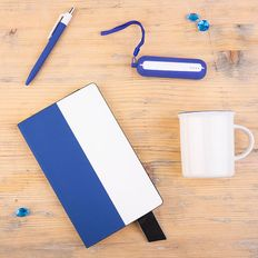 Набор подарочный Bestiamo: кружка, блокнот, аккумулятор, ручка, коробка со стружкой, белый/ синий фото