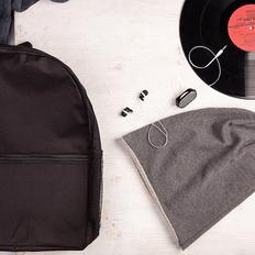 Набор подарочный BoyRock: шапка, наушники, рюкзак, черно-серый фото