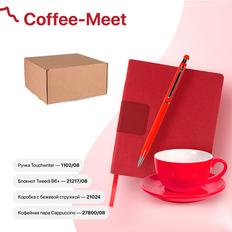 Набор подарочный Coffee-meet: бизнес-блокнот, ручка, чайная пара, красный фото