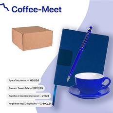 Набор подарочный Coffee-meet: бизнес-блокнот, ручка, чайная пара, синий фото