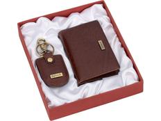 Набор подарочный Diplomat: визитница горизонтальная, ключница с карабином, коричневый фото