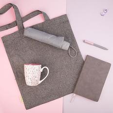 Набор подарочный Dustyrose: кружка, ручка, зонт, бизнес-блокнот, сумка, серый/ розовый фото