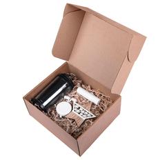 Набор подарочный Ease: наушники, зарядное устройство, термокружка, украшение, черный / белый фото