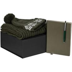 Набор подарочный Eira: шарф, шапка, ежедневник Chillout, ручка шариковая Popular, зеленый фото