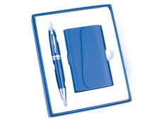 Набор подарочный Эстет: визитница, шариковая ручка, синий фото