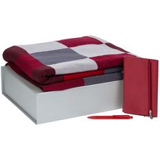 Набор подарочный Farbe Memo: плед, ежедневник Zipco Flap, ручка шариковая Prodir, красный фото