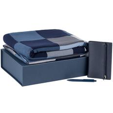 Набор подарочный Farbe Memo: плед, ежедневник Zipco Flap, ручка шариковая Prodir, синий фото