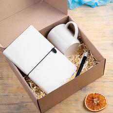 Набор подарочный Fineline: кружка, блокнот, ручка, белый/черный фото