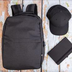 Набор подарочный Forplanet: рюкзак, бейсболка, бизнес-блокнот, черный фото