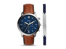 Набор подарочный Fossil: часы наручные мужские, браслет, коричневый / синий фото