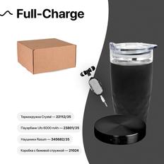 Набор подарочный Full-Charge: термокружка, зарядное устройсво, наушники, коробка, стружка, чёрный фото