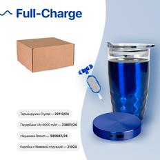Набор подарочный Full-Charge: термокружка, зарядное устройство, наушники, коробка, стружка, синий фото