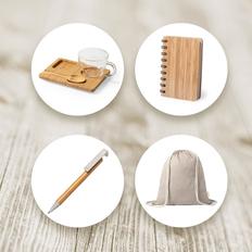 Набор подарочный Inbamboo: чашка, ложка, поднос, блокнот, ручка, рюкзак, бежевый фото