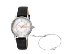 Набор подарочный Just Cavalli: часы наручные женские, браслет, черный / серебристый фото