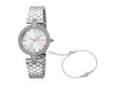 Набор подарочный Just Cavalli: часы наручные женские, браслет, серебряный фото
