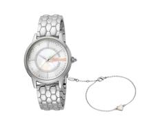 Набор подарочный Just Cavalli: часы наручные женские, браслет, серебристый фото