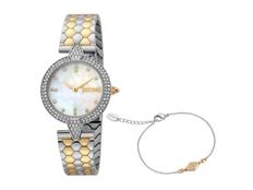Набор подарочный Just Cavalli: часы наручные женские, браслет, серебристый / золотистый фото