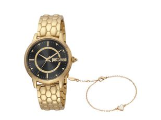 Набор подарочный Just Cavalli: часы наручные женские, браслет, золотистый / черный фото