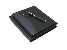 Набор подарочный Lapo: папка с блокнотом A5, ручка-роллер, черно-синий фото