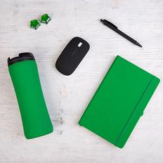 Набор подарочный Likeskin: ручка, мышь, блокнот, термокружка, коробка со стружкой, зеленый фото