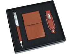 Набор подарочный Мокко: ручка шариковая, визитница, флешка 1 Гб, коричневый фото