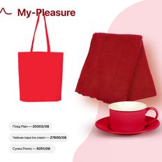 Набор подарочный My-Pleasure: плед, чайная пара, сумка, красный фото