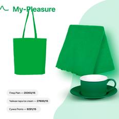Набор подарочный My-Pleasure: плед, чайная пара, сумка, зеленый фото