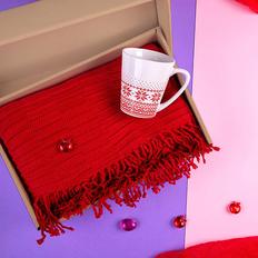 Набор подарочный Native Passion: плед, кружка, коробка, красный фото