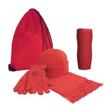 Набор подарочный Норвегия: рюкзак-мешок, шарф, шапка, термостакан, перчатки, красный фото