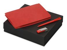 Набор подарочный Notepeno: блокнот А5, флешка 8Гб Квебек, ручка Plane, красный фото