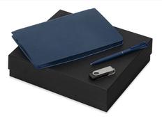 Набор подарочный Notepeno: блокнот А5, флешка 8Гб Квебек, ручка Plane, синий фото
