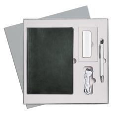 Набор подарочный Portobello Voyage: внешний аккумулятор, ежедневник недатированный А5, ручка шариковая, зеленый/ белый фото