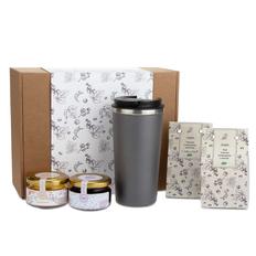 Набор подарочный Portobello WildBerry: термокружка, черная смородина вяленая, мед, чай, конфитюр, крафт фото