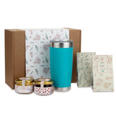 Набор подарочный Portobello WildBerry: термокружка Crown, клюква вяленая, мед цветочный, чай с чабрецом, конфитюр вишневый, бирюзовый фото