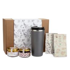 Набор подарочный Portobello WildBerry: термокружка Palermo, клюква вяленая, мед цветочный, чай, конфитюр вишневый, серый фото