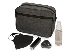 Набор подарочный Премиум: портативный аккумулятор, наушники, маска защитная, антисептик, серый меланж/ черный фото