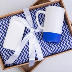 Набор подарочный Realsailor: внешний аккумулятор 20000 мАч, плед, кружка, подарочная коробка, синий/ белый фото
