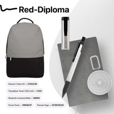 Набор подарочный Red-Diploma: бизнес-блокнот, ручка, bluetooth-колонка, зарядное устройство, рюкзак, черный/ серый фото