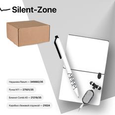 Набор подарочный Silent-Zone: бизнес-блокнот, ручка, наушники, коробка, стружка, бело-черный фото