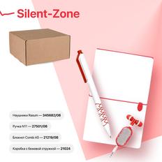 Набор подарочный Silent-Zone: бизнес-блокнот, ручка, наушники, коробка, стружка, бело-красный фото
