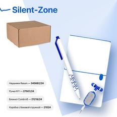 Набор подарочный Silent-Zone: бизнес-блокнот, ручка, наушники, коробка, стружка, бело-синий фото