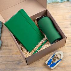 Набор подарочный Silkway: термокружка, блокнот, ручка, зелёный фото