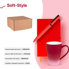 Набор подарочный Soft-Style: бизнес-блокнот, ручка, кружка, коробка, стружка, красный фото