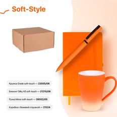 Набор подарочный Soft-Style: бизнес-блокнот, ручка, кружка, коробка, стружка, оранжевый фото