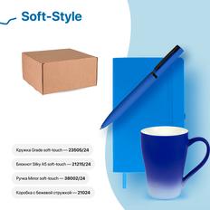 Набор подарочный Soft-Style: бизнес-блокнот, ручка, кружка, коробка, стружка, синий фото