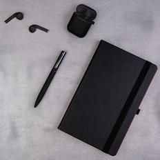 Набор подарочный Softmelody: беспроводные наушники, бизнес-блокнот, ручка, черный фото